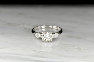 Circa 1950s Engagement Ring with Fishtail Prongs and a Knife-Edge Shank