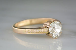 1.00 Carat Old Mine Cushion Cut Diamond in a Victorian 18K Rose Gold Cathedral Style Engagement Ring with Hand-Engraving