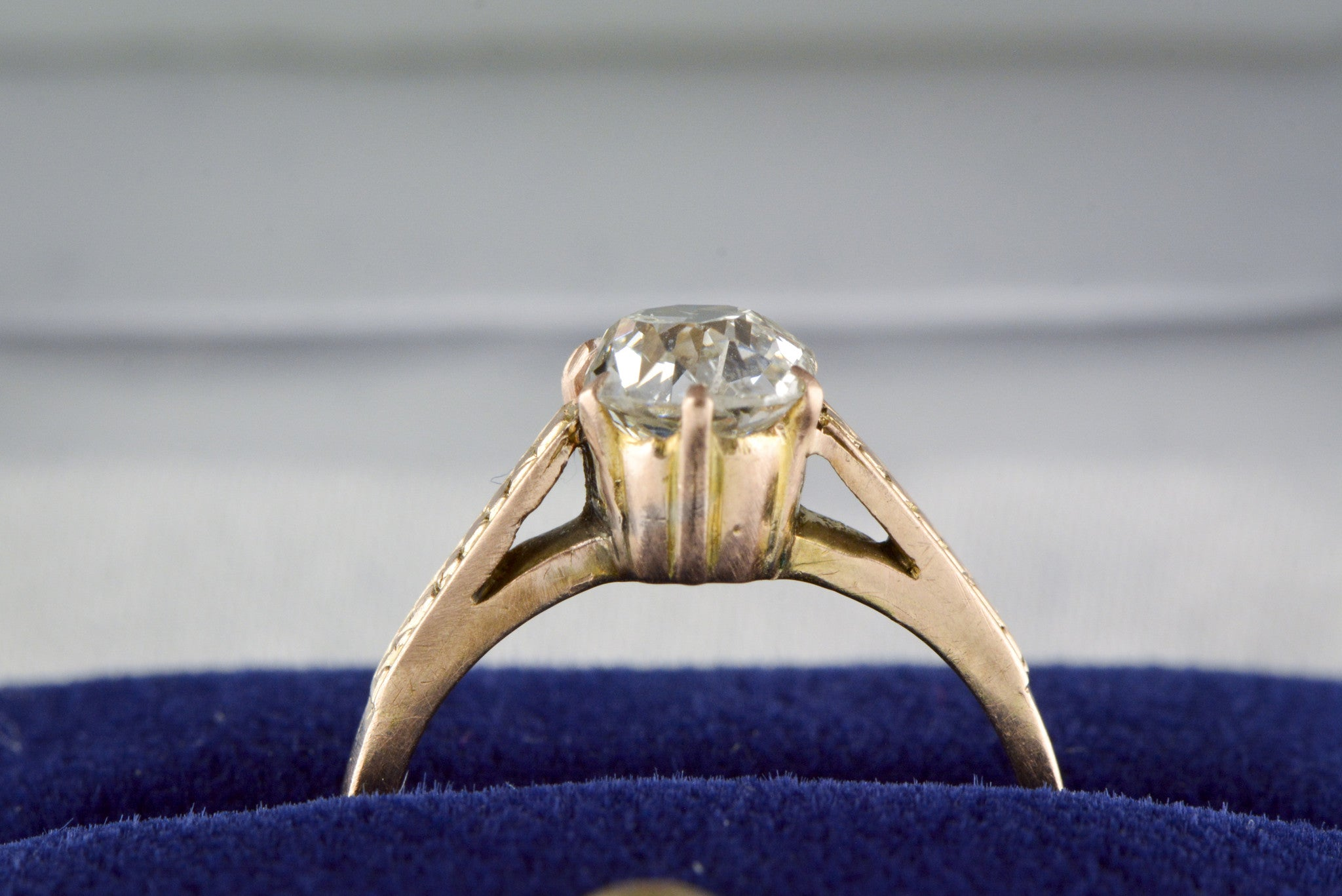 100 Carat Old Mine Cushion Cut Diamond In A Victorian 18k Rose Gold Cathedral  Style Engagement Ring With Handengraving