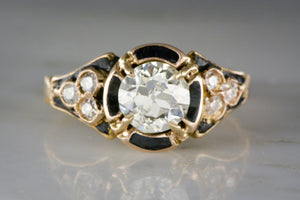 1.20 Carat Old European Cut Diamond in a Victorian 15K Rose - Yellow Gold Engagement, Anniversary, or Right-Hand Ring with Black Enamel and Diamond Accents