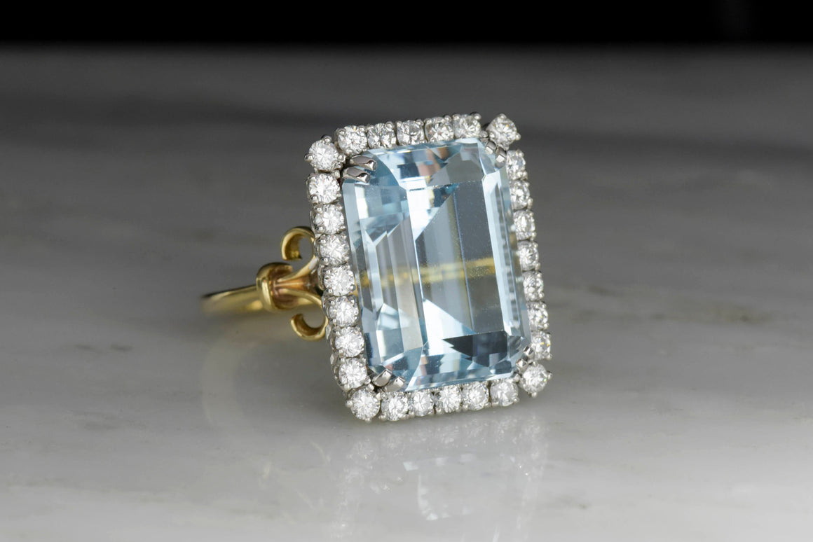 Retro Two-Tone Aquamarine and Diamond Ring