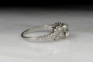 Late Edwardian / Early Art Deco GIA Certified 1.34 Carat Old European Cut Diamond Engagement Ring