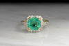 Late Belle Époque Diamond Ring with a Certified 2.87 Carat Emerald Center