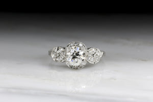 Edwardian / Art Deco Engagement Ring with a GIA Certified Old European Cut Diamond Center
