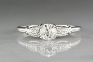 Signed Antique Traub, Orange Blossom Old European Cut Diamond and Platinum Engagement or Stacking Ring; Art Deco Era