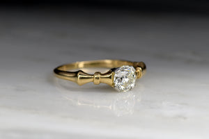 C. 1940s Victorian Revival Gold and Platinum Engagement Ring with a .62 Carat Early Old European Cut Diamond