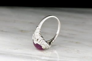 Art Deco/Retro Cabochon Cut Star Ruby and Diamond Right-Hand Ring