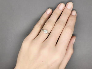 Antique 1927 Edwardian Engagement Ring with a 1.04 Carat Round Old Mine Cut Diamond