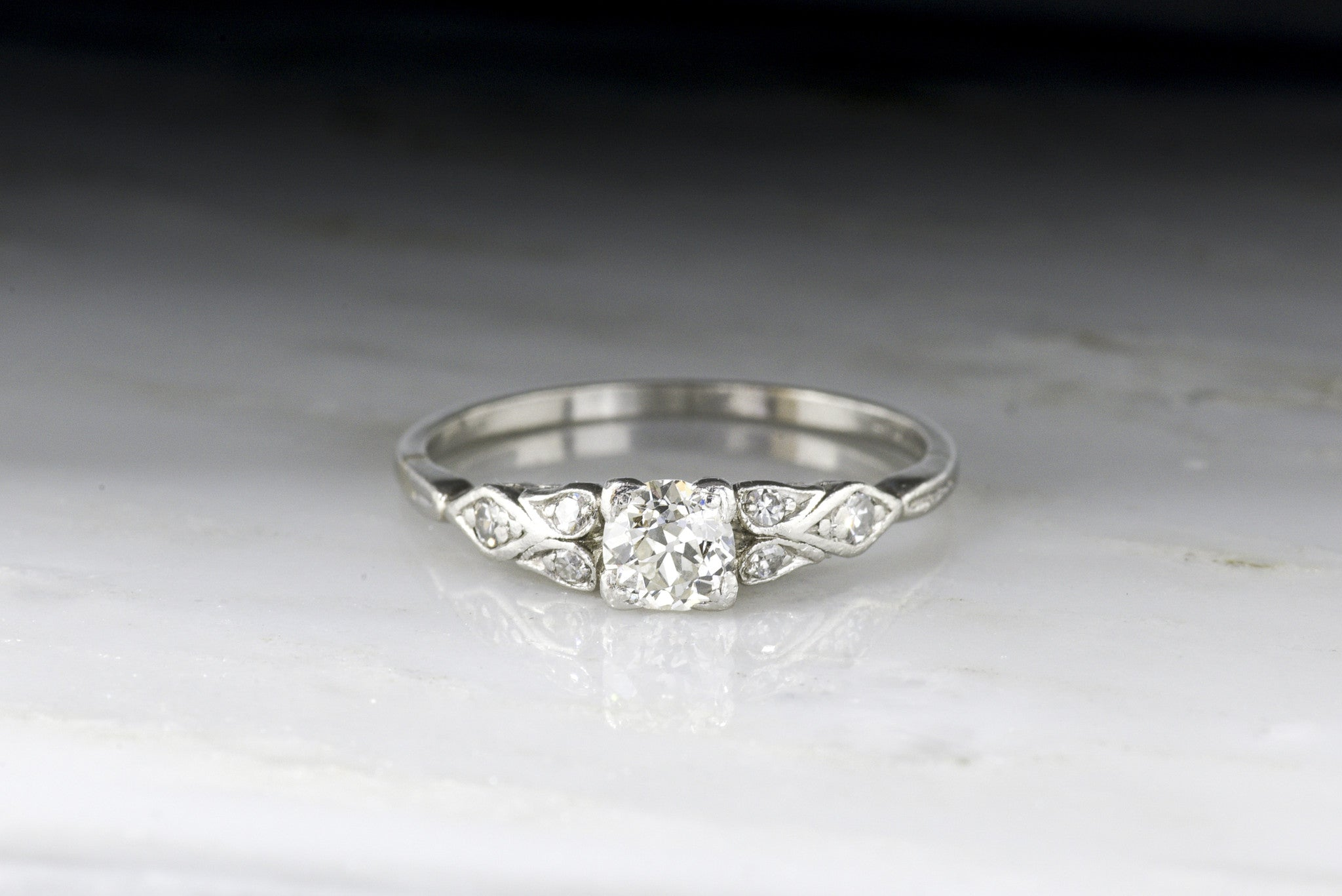 d7f51ef57f C. 1930s-1940s Engagement Ring; Art Deco Era with Early Retro Design a -  Pebble and Polish
