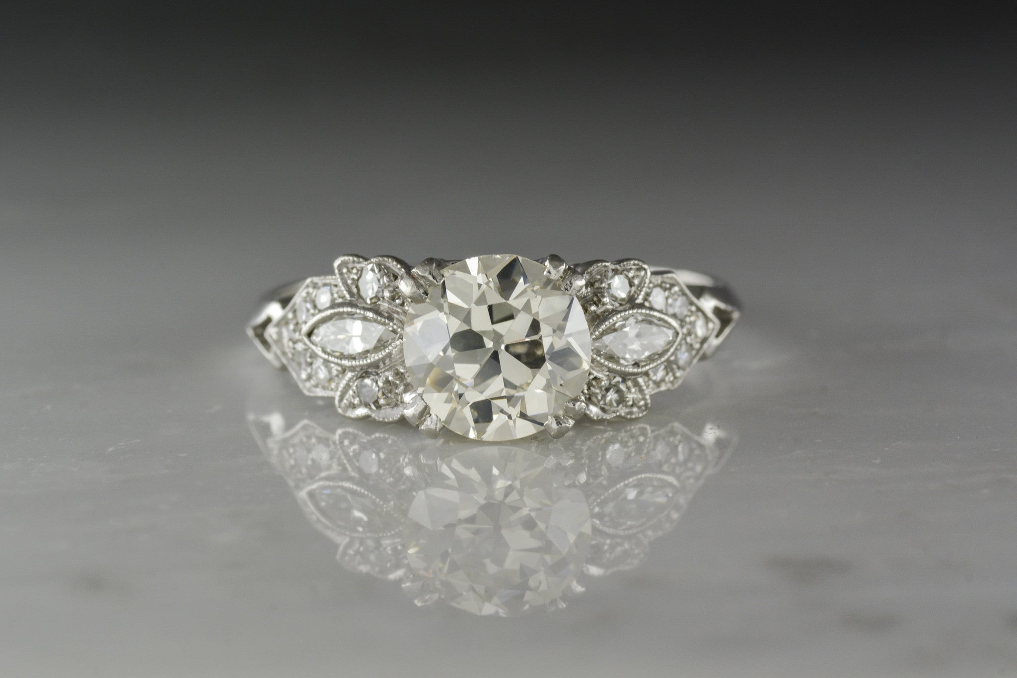 Antique c. 1920s Late Edwardian / Early Art Deco Engagement Ring with 1.30  Carat Old European Cut Diamond Center (1.58 ctw)