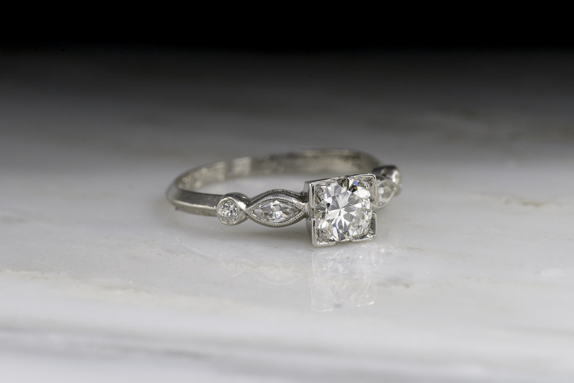 "Vintage Art Deco, Retro Engagement Ring (Dated ""1942"") with Old European / Transitional Cut Diamond Center"