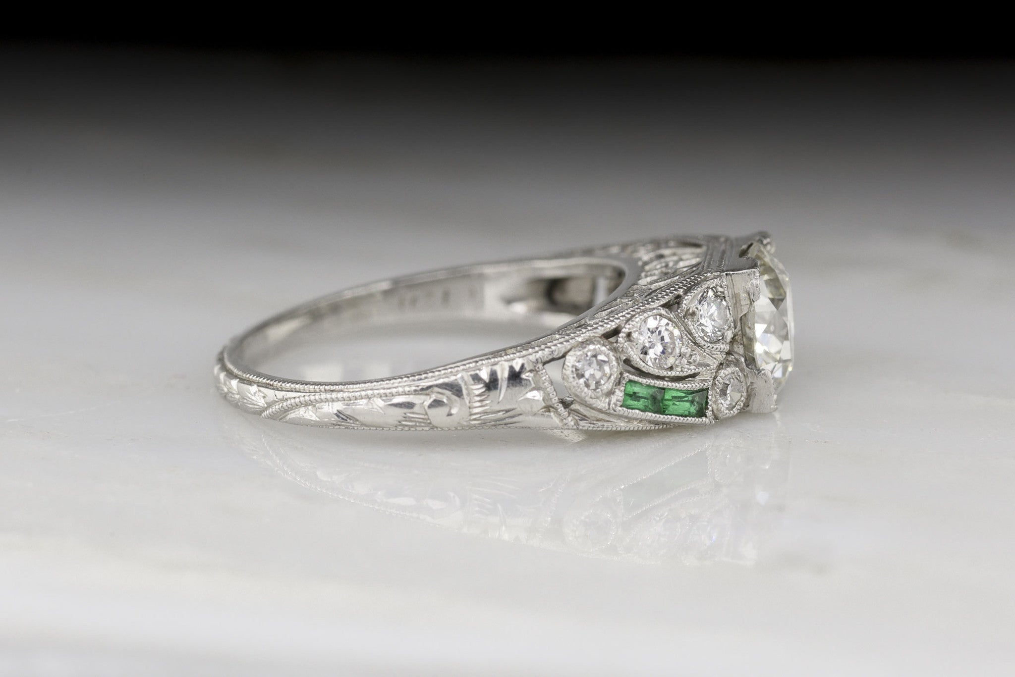 Art Deco Old European Cut Diamond And Columbian  Emerald Engagement Ring