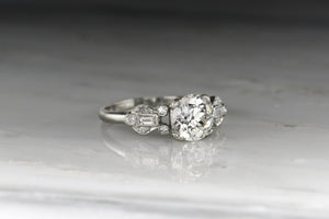 Edwardian / Art Deco Old European Cut Diamond and Ancient Greek Lyre Engagement Ring