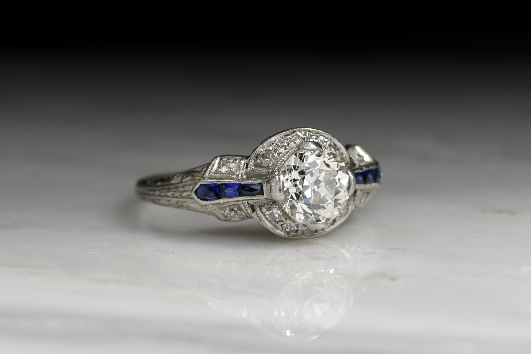 product diamond view ring previous vintage engagement and bands sapphire top