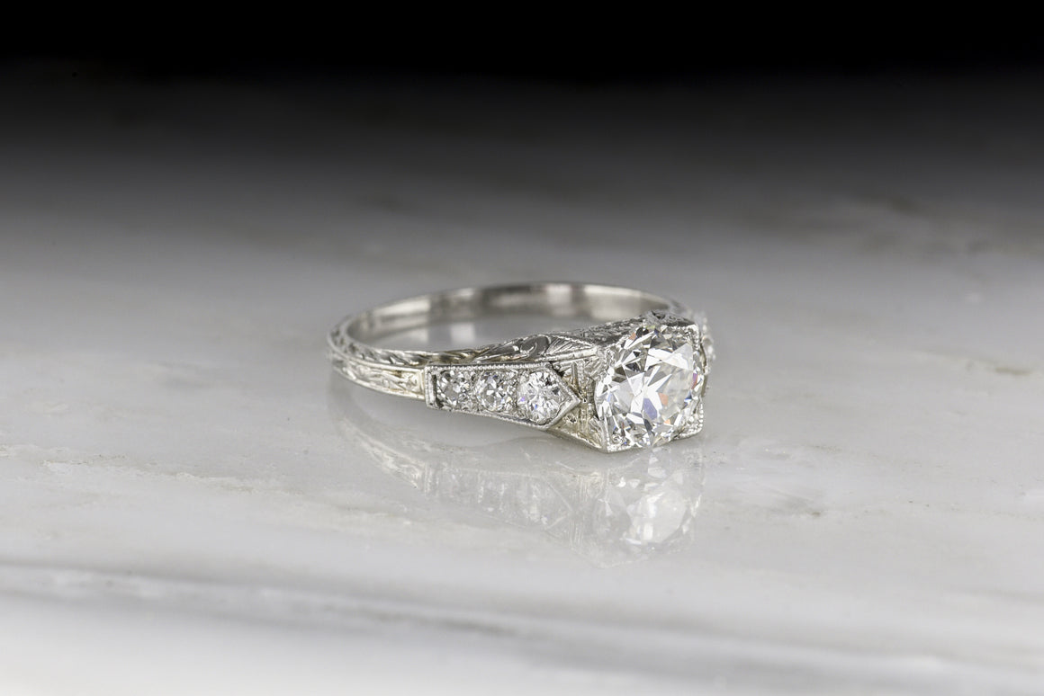 Edwardian GIA Certified 1.10 Carat Old European Cut Diamond Engagement Ring with Ornate Hand-Engraving