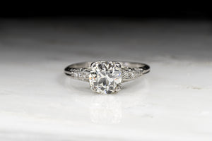 Vintage Edwardian 1.50 Carat Old European Cut Diamond Engagement Ring with Ornate Engraving