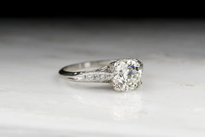 Edwardian 1.50 Carat Old European Cut Diamond Engagement Ring with Ornate Engraving