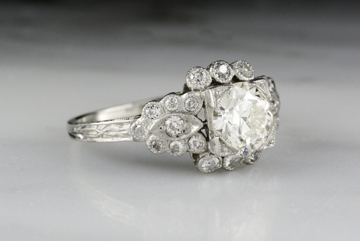 Vintage Edwardian / Art Deco Engagement Ring (c. 1920s - 1930s) with an Old European Cut Diamond Center and Old Mine Cut Diamond Accents (1.70 ctw)