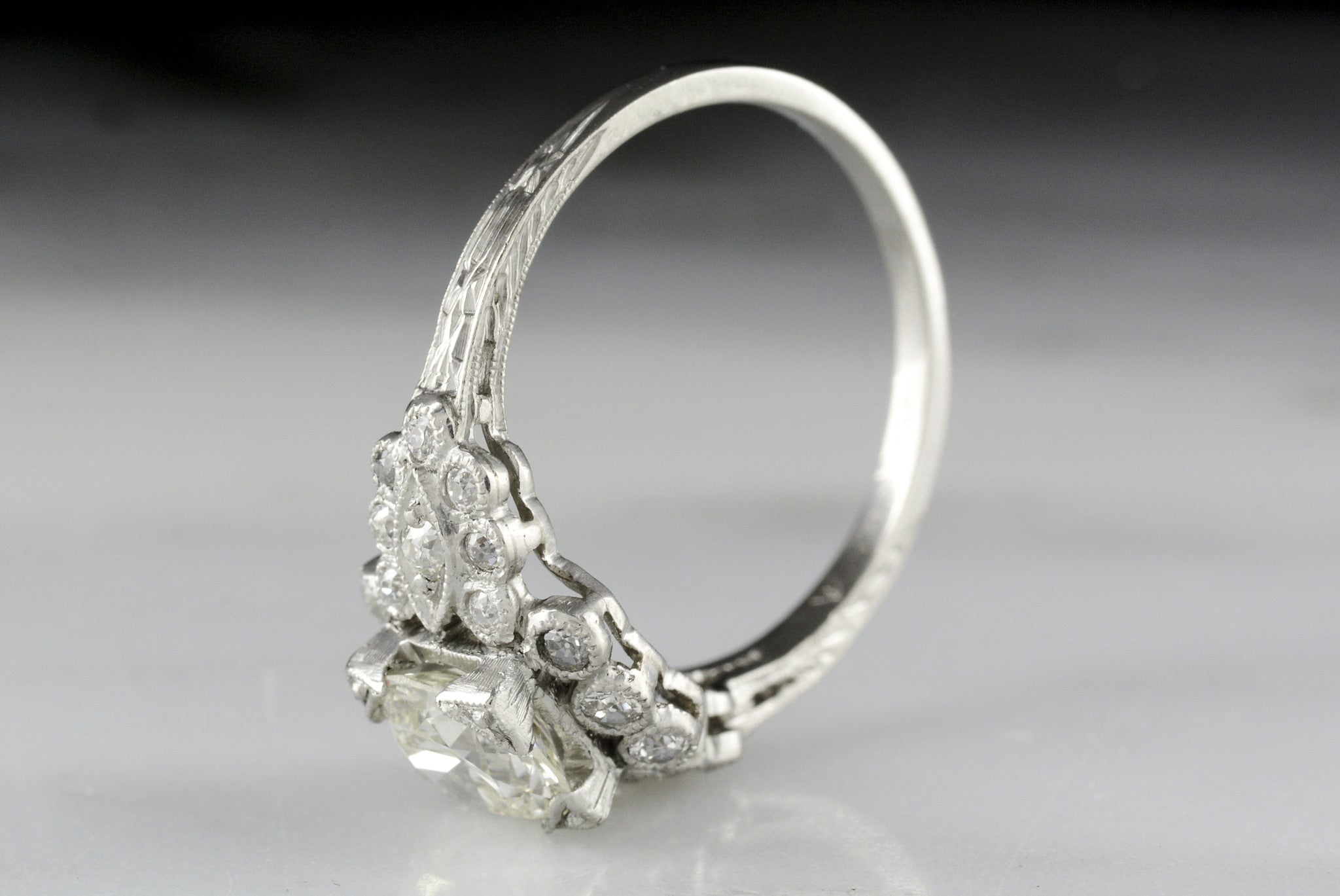 inspired pave index detail solitaire rings diamond gia cushion center celebrity