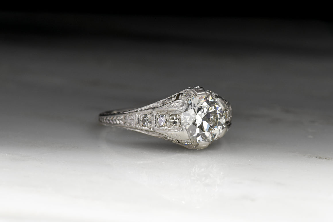 Vintage Edwardian Diamond Engagement Ring; Old European Cut