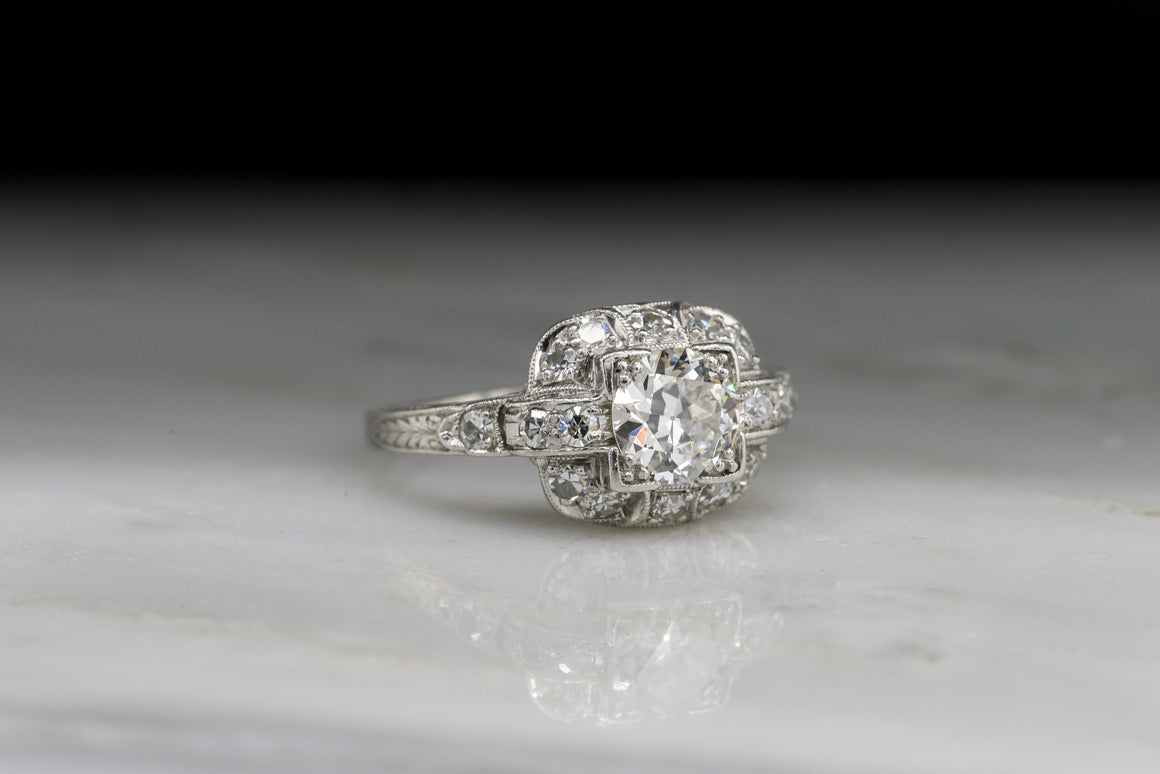 Ornate Late Art Deco / Early Retro Diamond Engagement Ring