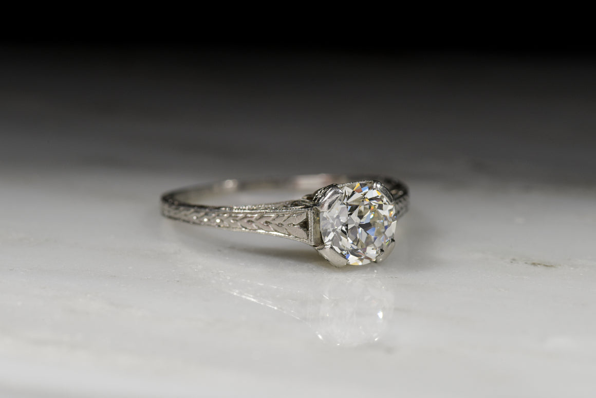 Vintage Engagement Ring: Edwardian Era Ring Old European Cut Diamond in a Cathedral Setting