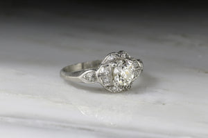 Vintage .70 Carat Old European Cut Diamond in Platinum Art Deco Era Engagement Ring with Single Cut Diamond Accents R125