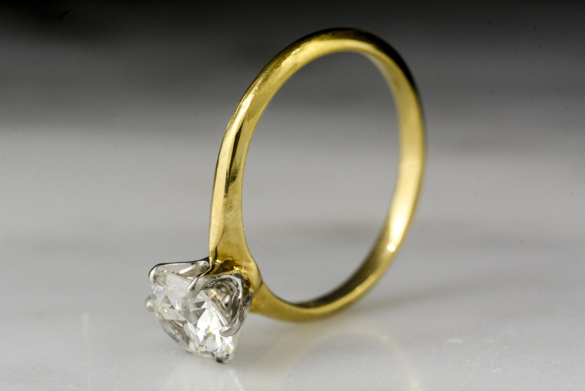 3a5535adf Vintage Tiffany & Co. Platinum and 18K Yellow Gold Solitaire Engagement Ring  with a GIA Certified .95 Carat Old European Cut Diamond