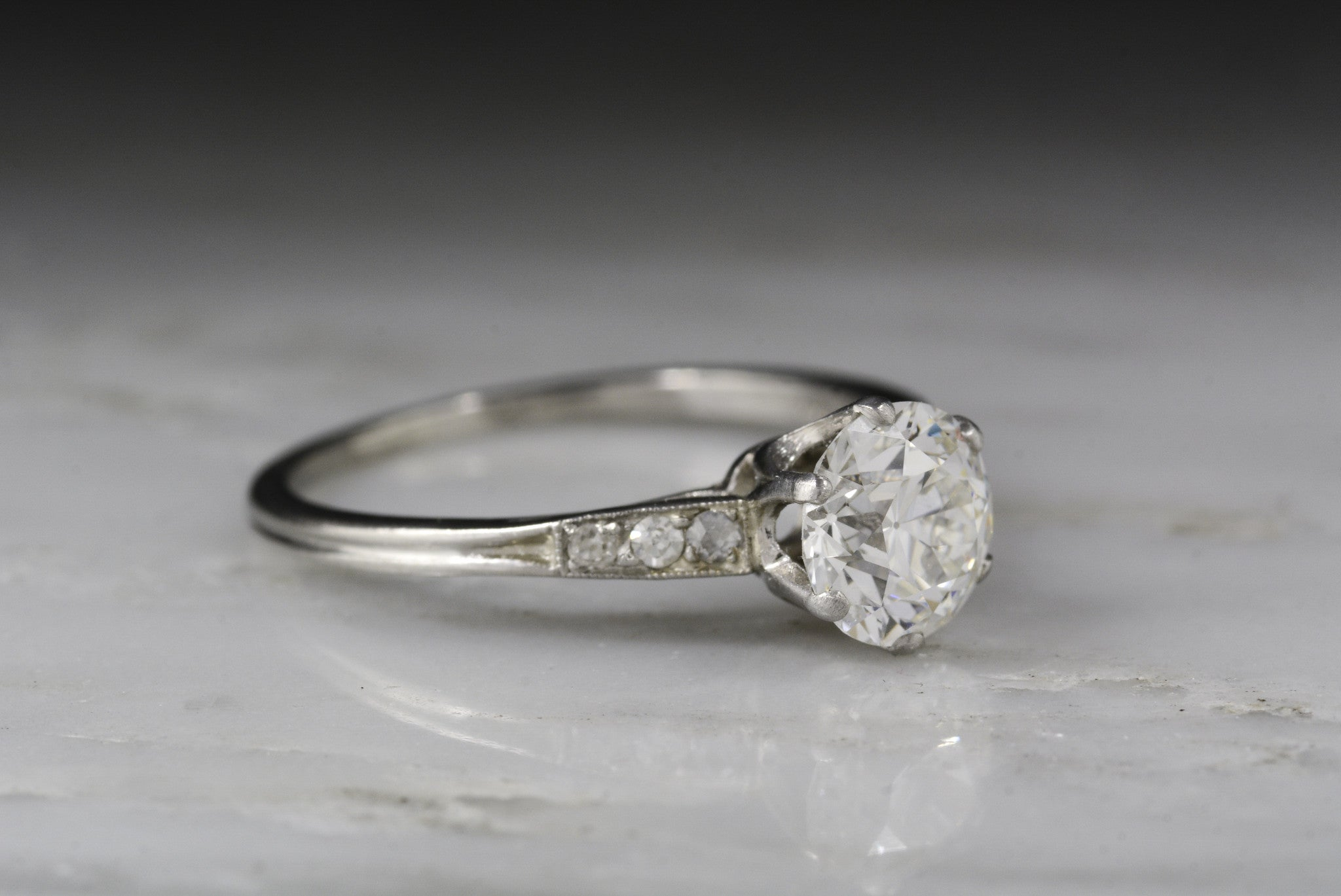 f5505d2dc82ed Antique Tiffany & Co. Post Art Deco / Retro Platinum Engagement Ring with a  GIA Certified 1.17 Carat Old European Cut Diamond Center