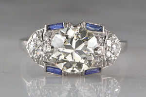 Orange Blossom 2.05ctw Old European Cut Late Edwardian / Art Deco Platinum Engagement Ring with Sapphires