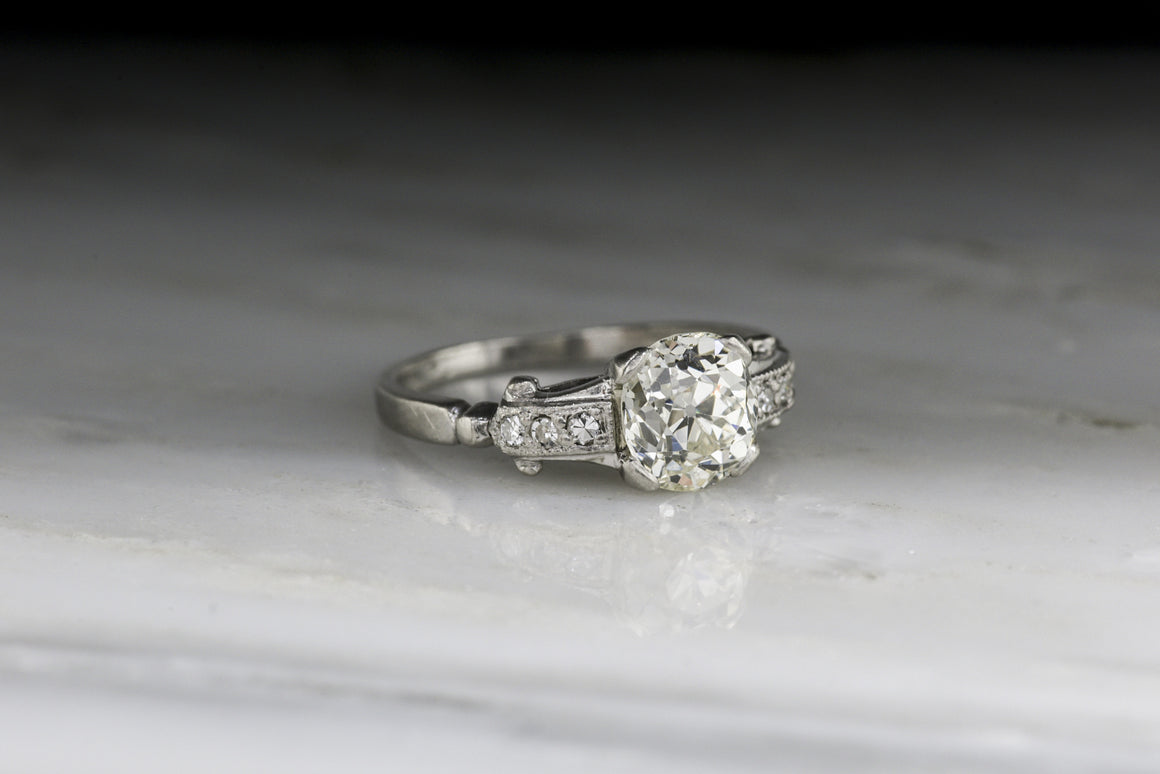 Antique Art Deco / Post-Edwardian Engagement Ring with 1.16 Carat Old Mine Cut Diamond Center