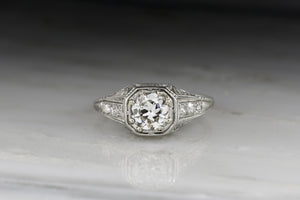 Vintage Art Deco .90 Carat Old European Cut Diamond Engagement Ring