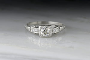 Vintage Art Deco / Mid-Century Old Mine Cut Diamond Engagement Ring