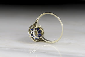 French Art Deco Calibré Cut Sapphire and Old European Cut Diamond Ring