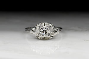 Vintage Art Deco / Retro .61 Carat Old European Cut Diamond Engagement Ring