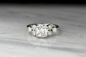 Art Deco Engagement Ring with a GIA 1.38 Carat Diamond Center