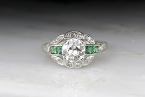 Antique Edwardian / Art Deco Diamond and Emerald Engagement Ring with 1.07 Carat Old European Cut Diamond Center