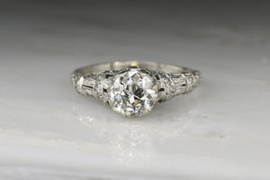 Edwardian .85 Carat Old European Cut Diamond Engagement Ring