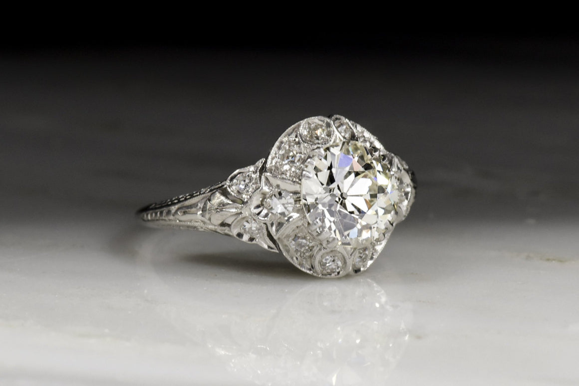 Antique Edwardian / Art Deco Engagement Ring with 1.50 Carat Old European Cut Diamond Center