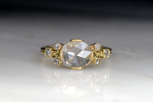 Victorian 1.23 Carat Oval Rose Cut Diamond Engagement Ring with French Owl Hallmark