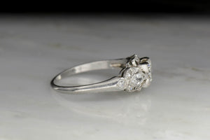 Transitional Cut Diamond Engagement Ring with Marquise Sides