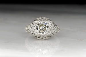 Edwardian 1.65 Carat Old European Cut Diamond Ring with Ornate Open Filigree