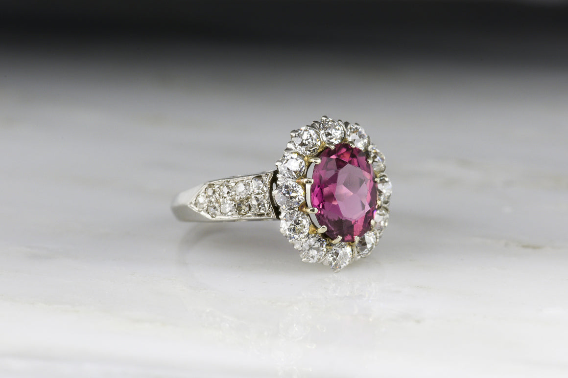 Retro Pink Tourmaline and Old Mine Cut Diamond Halo Engagement or Statement Ring