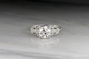 1920s Edwardian / Early Art Deco 1.10 ct Old European Cut Diamond Floral Engagement Ring