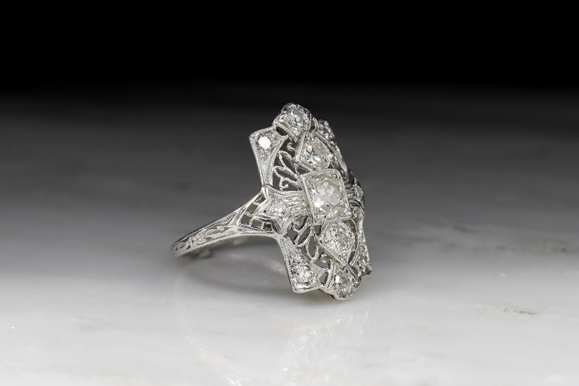 1910s-1920s Edwardian / Art Deco Old Mine Cut and Single Cut Diamond Cocktail Ring