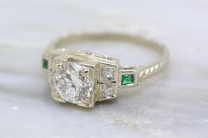 Art Deco 1.10ctw Old European Cut Diamond Engagement Ring in 18k White Gold with Emerald Accents; Engraving; Filigree R144