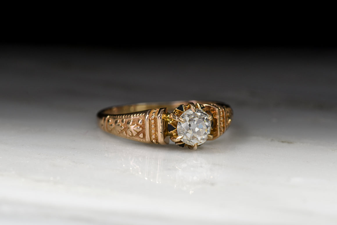 Antique Victorian Old Mine Cut Diamond Engagement Ring in Rose Gold with Black Enamel