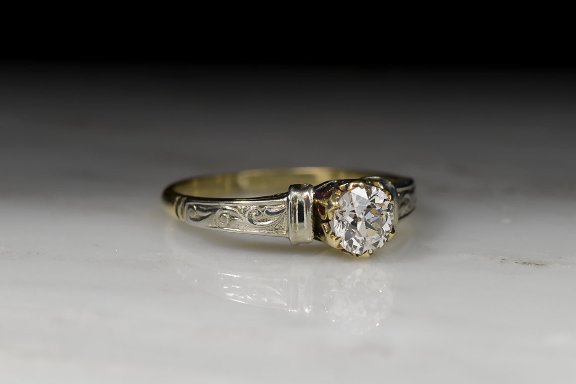 Antique Victorian Old European Cut Diamond Two-Toned Engagement Ring