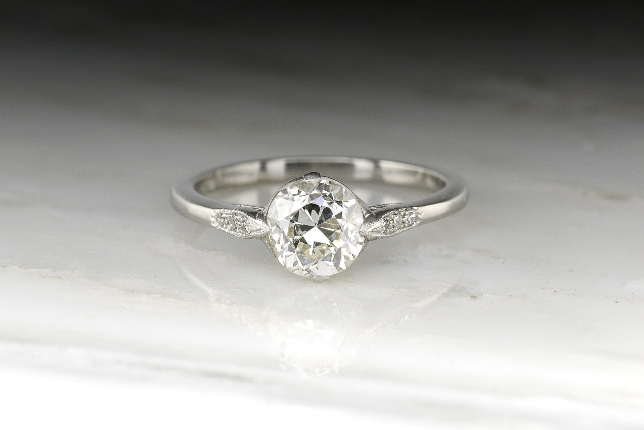 cut european image from edwardian diamond ring old engagement twist rings style double