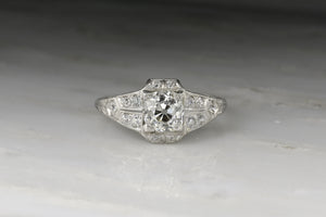 Late Edwardian / Early Art Deco Ring with a 1.41 Carat Old Mine Cut Diamond Center